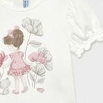 Тениска с момиченце и коте Ecofriends за бебе момиче