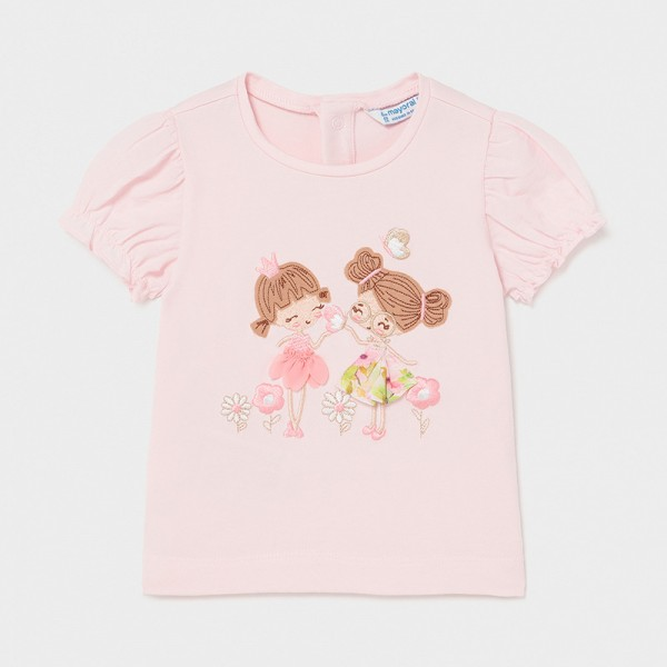 Тениска с момиченца и апликации за бебе момиче