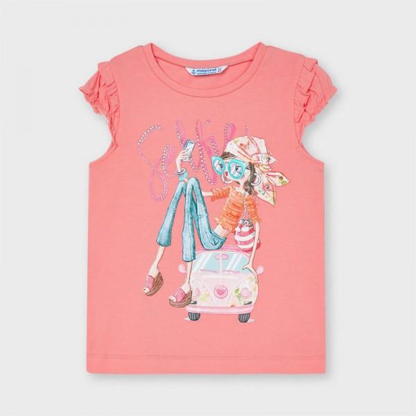 Тениска с къс ръкав волани и рисунка