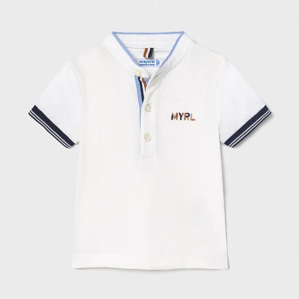 Поло тениска с къс ръкав и яка тип мандарин