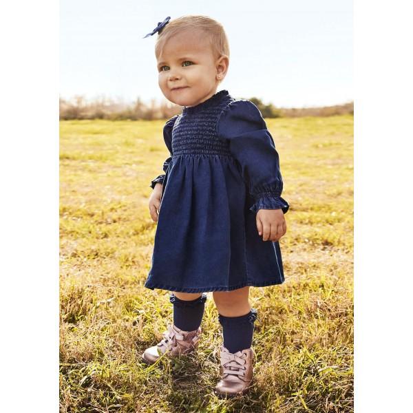 Дънкова рокля за бебе момиче
