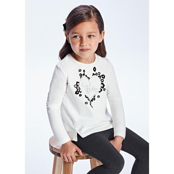 Блуза ECOFRIENDS със  сърце флок за момиче
