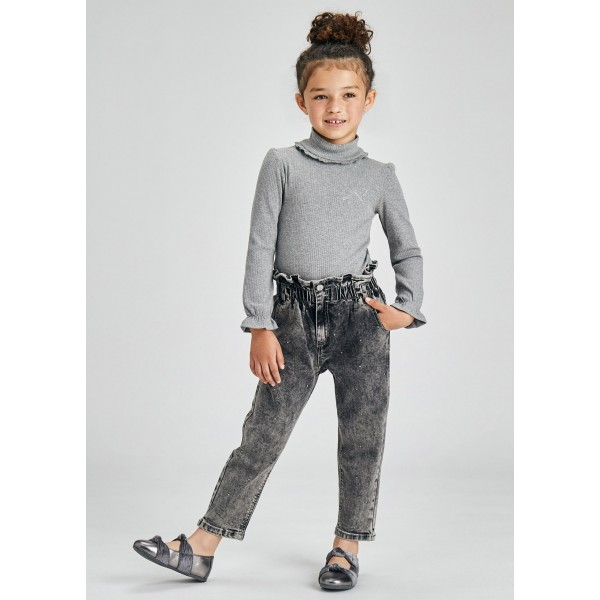 Дълъг торбест панталон тип slouchy за момиче
