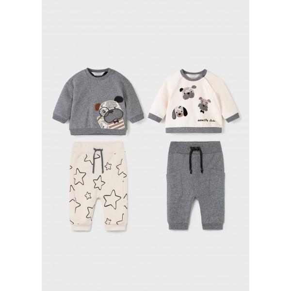 Комплект 4 части с кученце за новородено момче
