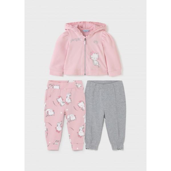 Спортен комплект коте с 2 панталона за бебе момиче