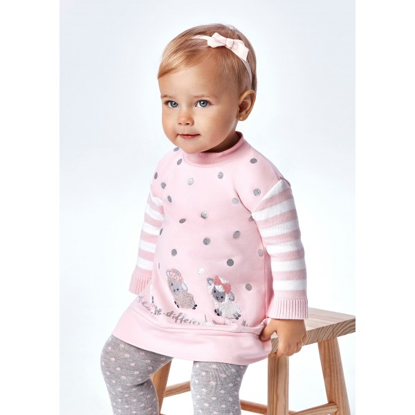 Комбинирана рокля агънца за бебе момиче