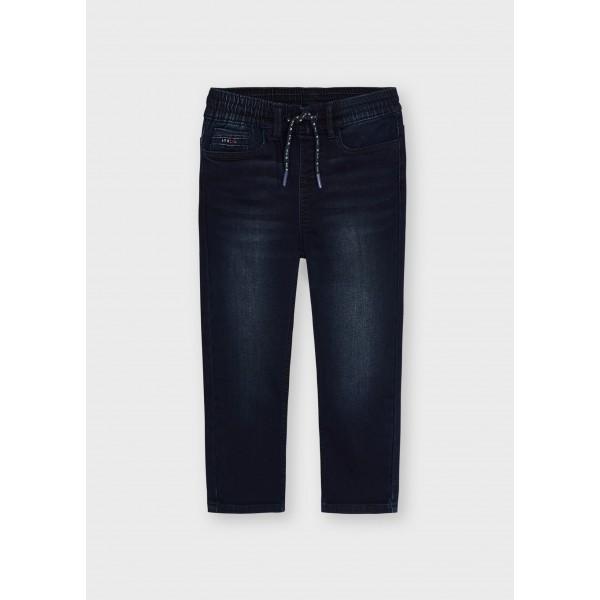 Дълъг дънков панталон тип jogger от soft denim за момче