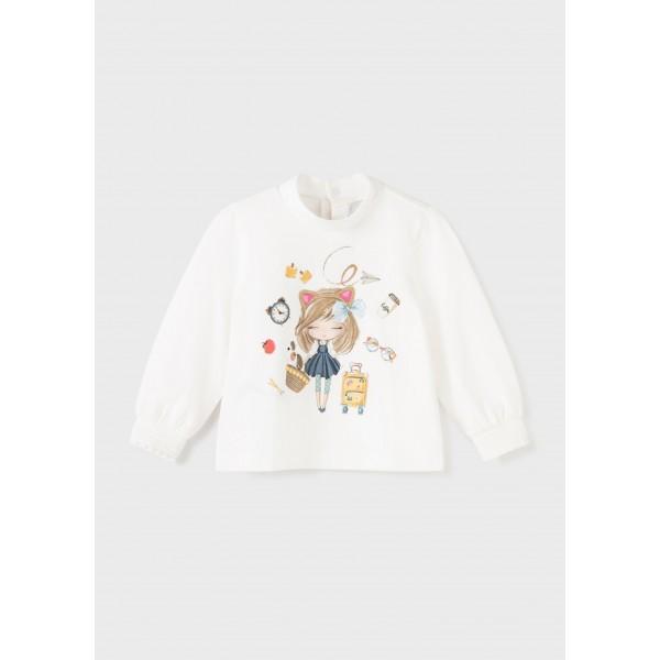 Блуза ECOFRIENDS полуполо и рисунка кукла за бебе момиче