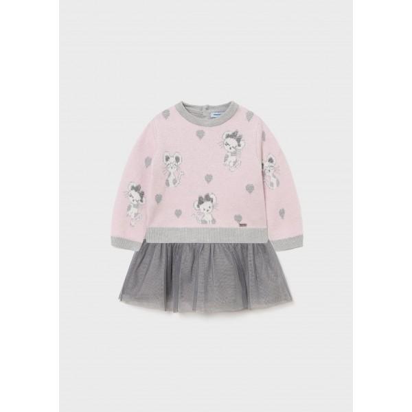 Комбинирана рокля мишки с тюл за бебе момиче