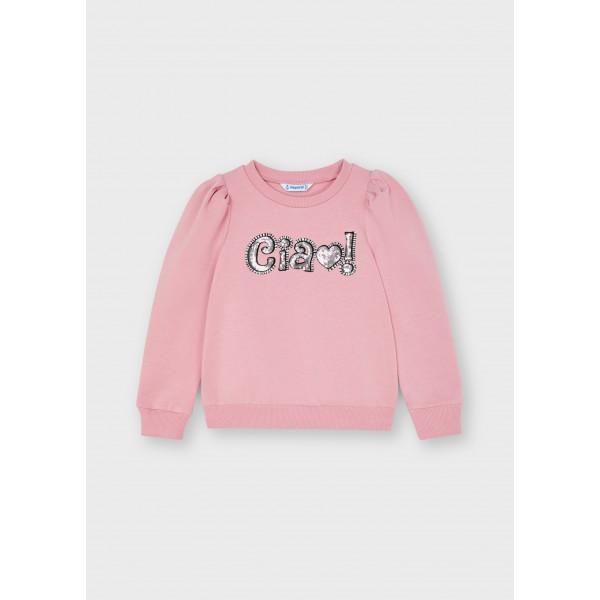 Пуловер с надпис от пайети за момиче Smile