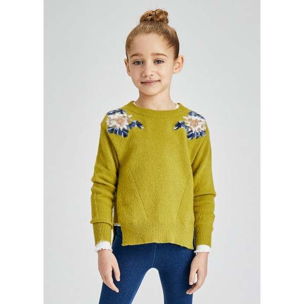 Пуловер с цветя за момиче