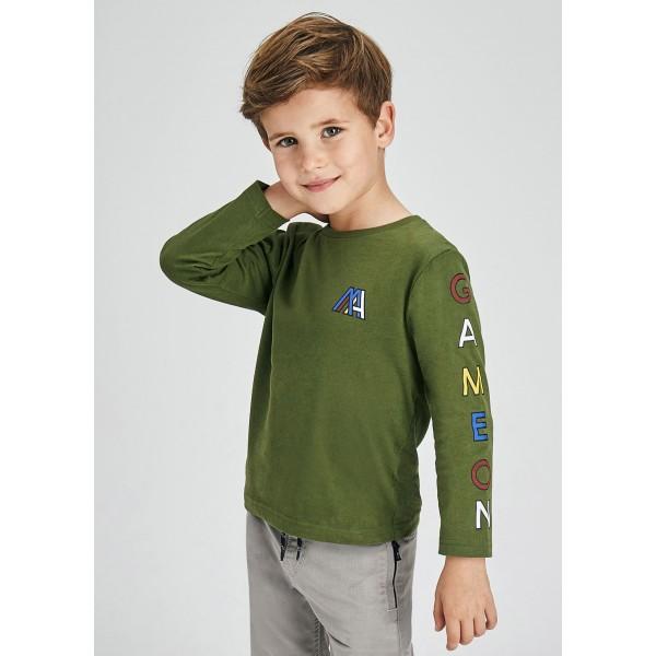 Блуза с цветен надпис за момче