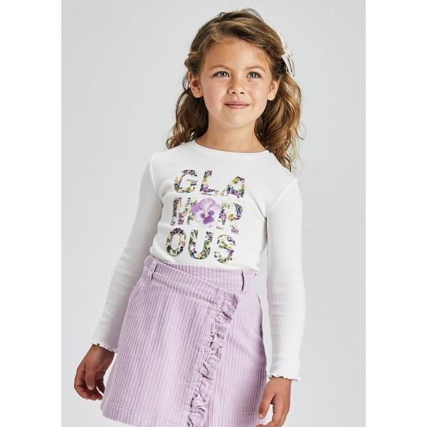 Блуза с надпис от цветя за момиче