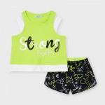 Комплект с къси панталони и щампа за момиче