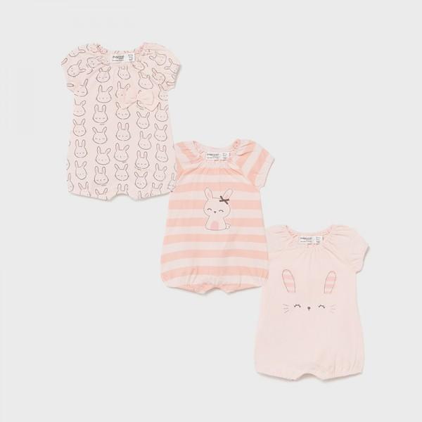 Комплект от 3 трикотажни пижами за новородено момиче