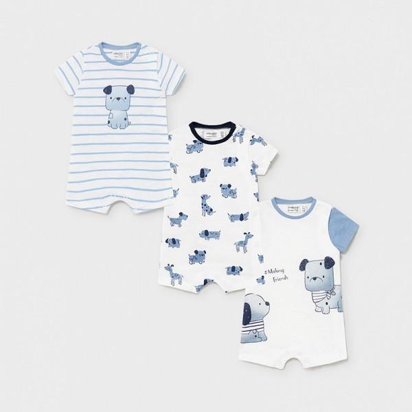 Комплект от 3 трикотажни пижами за новородено момче