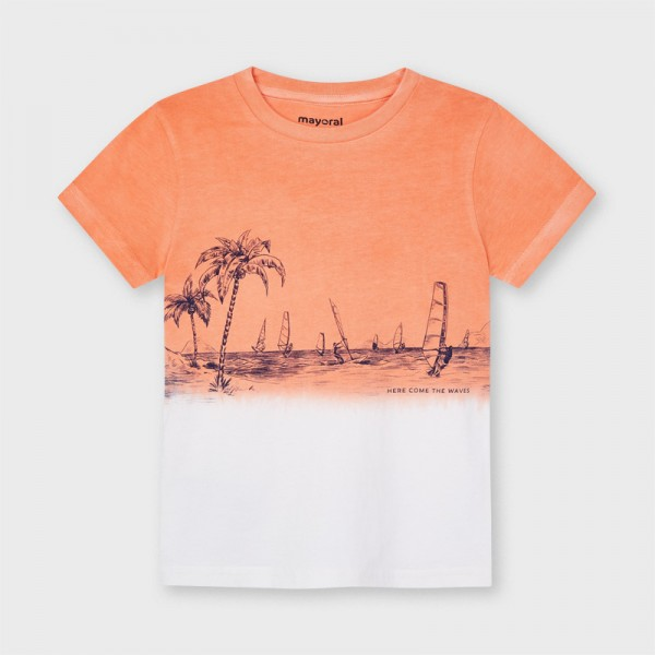 Тениска с къс ръкав и ефект омбре